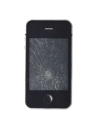 Mobile smartphone with broken screen isolated on white. photo