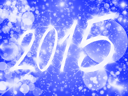 New Year background with shiny stars and beautiful bokeh. photo