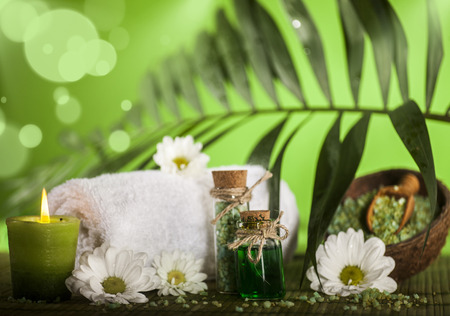 Tropical spa background in the range of green, white and brown.
