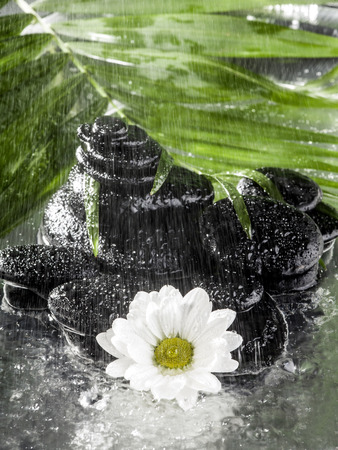Tropical spa background in the water with falling rain. photo