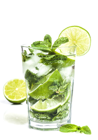 cocktail: Mojito cocktail isolated on a white background.