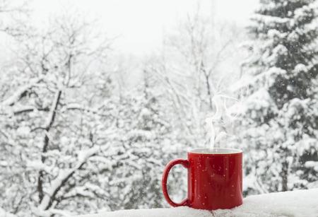 arbol de cafe: Taza de café roja en un fondo hermoso invierno nieve. Foto de archivo