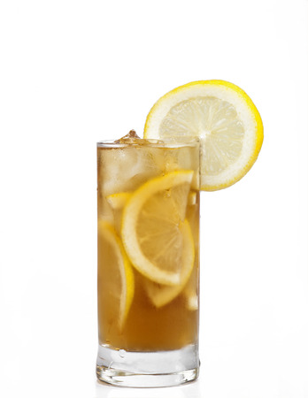 Long island ice tea coctail isolated on white background Stock Photo