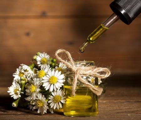 massage huile: L'huile essentielle de Camomille et bouquet de fleurs de camomille sur fond de bois