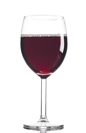 red sign: Red Wine in glass isolated on white background