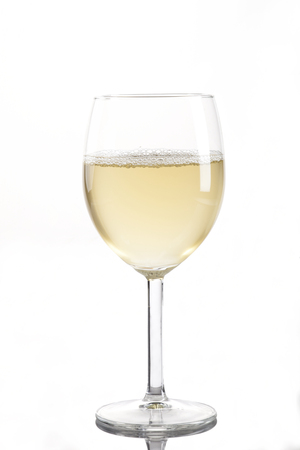 muscadet: Wineglass with white wine isolated on white background Stock Photo
