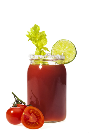 Bloody Mary cocktail isolated on a white background