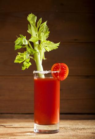 bloody mary cocktail: Bloody Mary cocktail on a wooden background