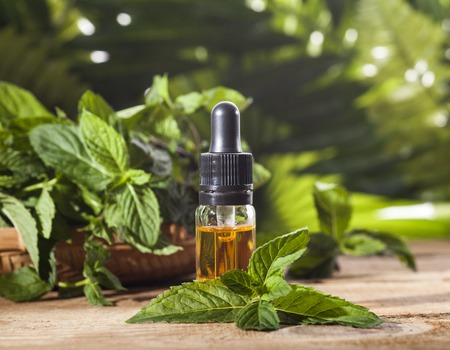 Essential aroma oil with peppermint on wooden background. Selective focus, horizontal. Banque d'images