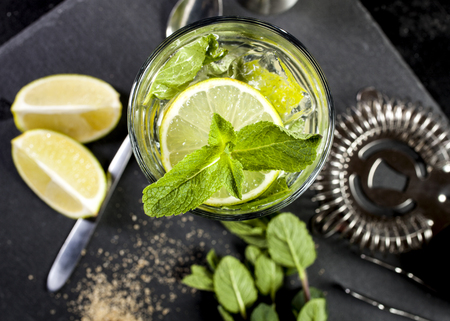 Mojito cocktail making. Ingredients and bar utensils. Stock Photo