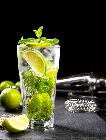 Closeup of mojito cocktail. Ingredients and bar utensils. Front view. Stock Photo