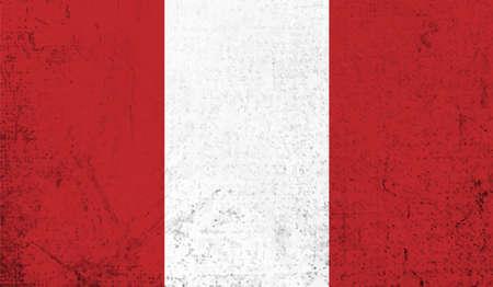 Grunge Peru flag. Peru flag with waving grunge texture.