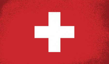 Grunge Vintage Flag of Switzerland. Vector Illustration.
