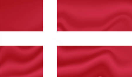 Denmark flag with waving grunge texture. Vector background.