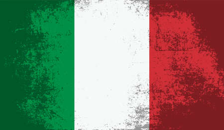 Italy flag with waving grunge texture. Vector background.