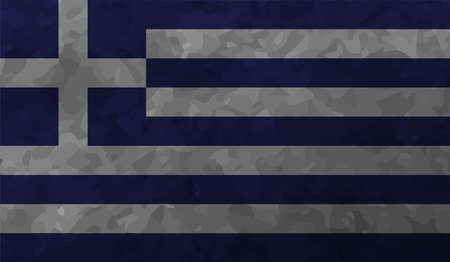 Greece flag with waving grunge texture. Vector background.