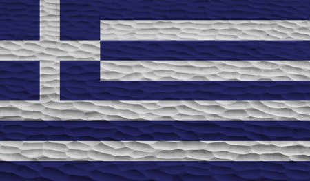Greece flag with waving grunge texture. Vector background. 矢量图像