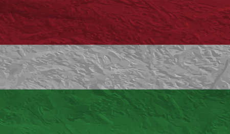 Hungary Flag. Grunge brush stroke with Hungary Flag isolated on grey. Style watercolor drawing and grunge texture.Vector illustration.