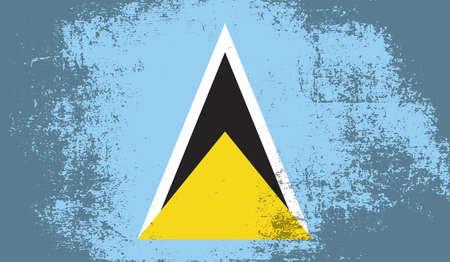 Saint Lucia flag brush stroke grunge background. Vector illustration. Vektoros illusztráció