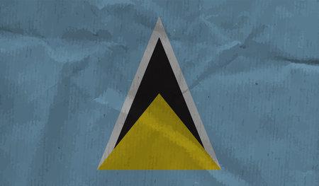 Saint Lucia flag brush stroke grunge background. Vector illustration.