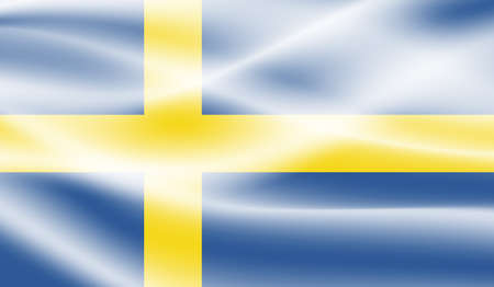 Sweden flag with waving grunge texture. Vector background.