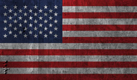 American flag. Grunge old flag USA isolated white background. Distressed retro texture. Vintage grungy dirty design. Symbol America united national freedom, patriotic 4th july Vector illustration 免版税图像