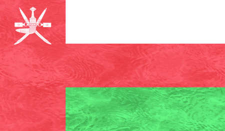 Oman flag with waving grunge texture. Vector background.