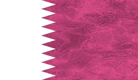 Qatar flag with waving grunge texture. Vector background.