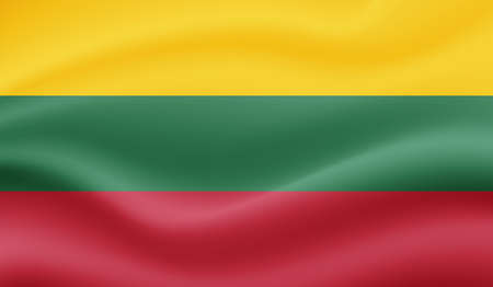 Lithuania flag with waving grunge texture. Vector background.