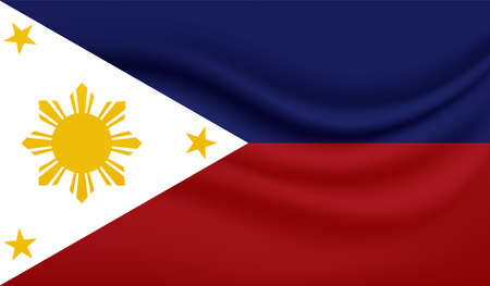Philippines flag with waving grunge texture. Vector background.