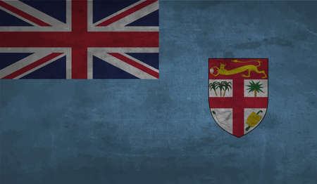 Fiji flag with the effect paper and grunge Vettoriali