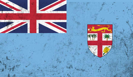 Fiji flag with the effect paper and grunge
