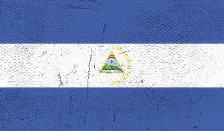 Grunge Nicaragua flag. Vector background.