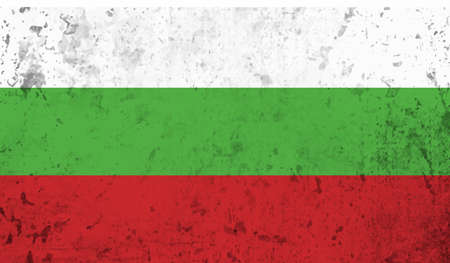 Bulgaria flag with waving grunge texture. Vector background.