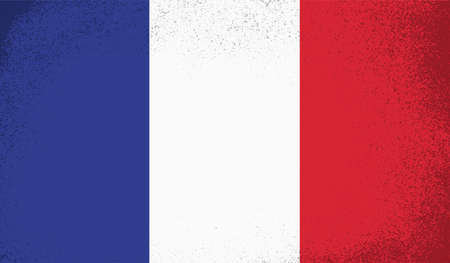France flag with waving grunge texture. Vector background.