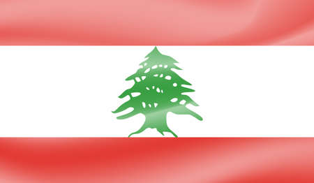 Lebanon flag with waving grunge texture. Vector background.