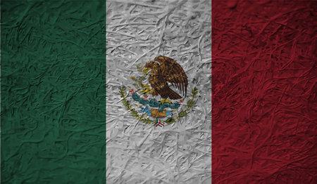 Grunge Mexico flag textured background. Vector illustration