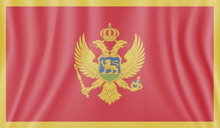 Montenegro flag with waving grunge texture. Vector background.