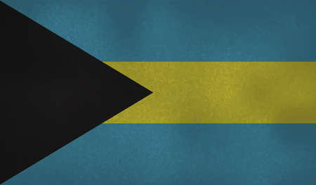 Bahamas flag with waving grunge texture. Vector background.