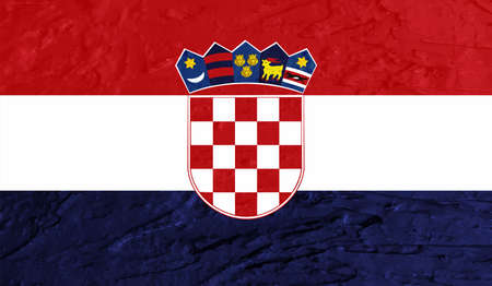Croatia flag with waving grunge texture. Vector background.
