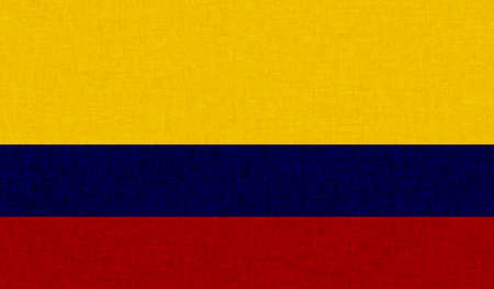 Columbia flag with waving grunge texture. Vector background.