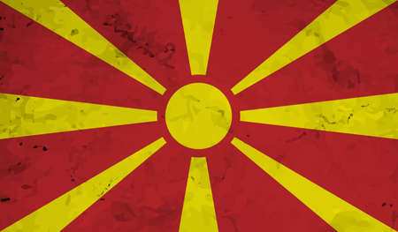 Macedonia flag with waving grunge texture. Vector background.