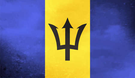 Barbados grunge flag. Vector illustration. Grunge effect can be cleaned easily. Vektoros illusztráció
