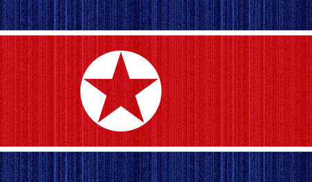 North Korea flag with waving grunge texture. Vector background.