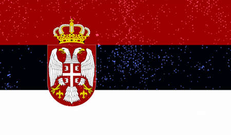Serbia flag with waving grunge texture. Vector background.