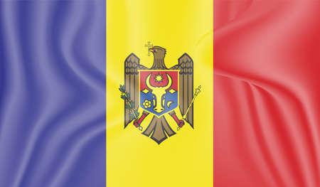 Moldova country flag on wavy silk fabric background panorama - illustration