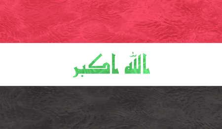 Iraq flag with waving grunge texture. Vector background. Vektorové ilustrace