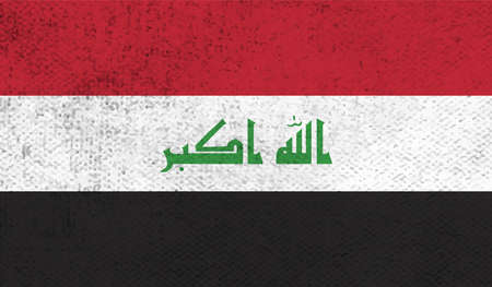 Iraq flag with waving grunge texture. Vector background.