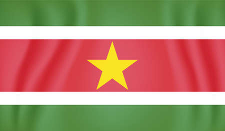 Suriname national flag created in grunge paint style