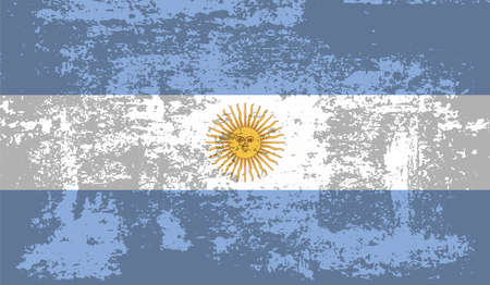 Argentina flag with waving grunge texture. Vector background.